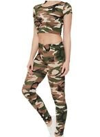 Women's ladies army camoflauge cropped top legging tracksuit jogging suit