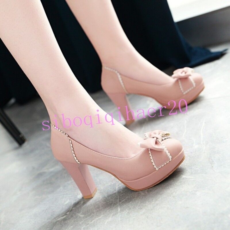 Casual Womens Party shoes New Bowknot Platform Chunky Heel Round Toe US 4.5-10.5