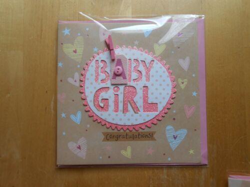 Babyshower Babyparty Geburt Taufe Mädchen Girl Rosa Glückwunschkarte Grußkarte
