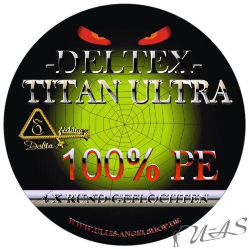 Deltex Titan Ultra Grün 0,20mm 13.60Kg 1000M Rund Geflochtene Angelschnur Kva