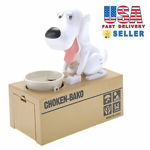 Cute-Choken-Bako-Hungry-Dog-Eating-Automatic-Coin-Piggy-Bank-Money-Box-White