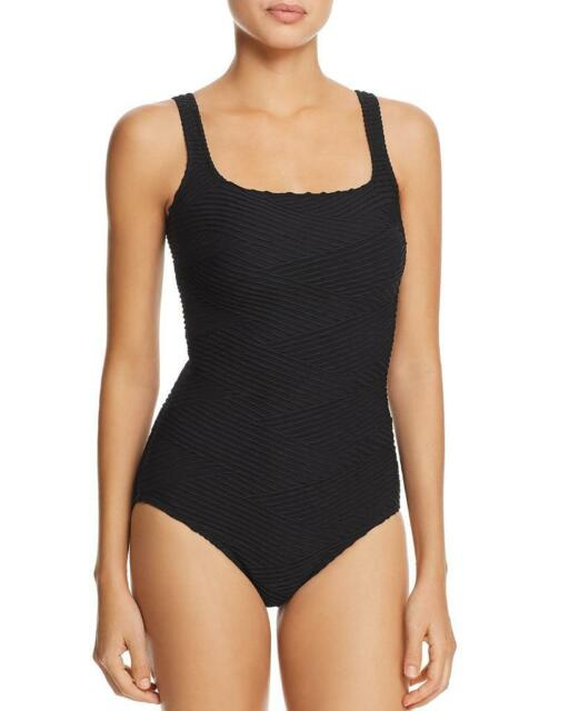 879329a1accd0 NWT NEW Gottex Black Essence Square Neck One Piece Swimsuit 10 $108 at11