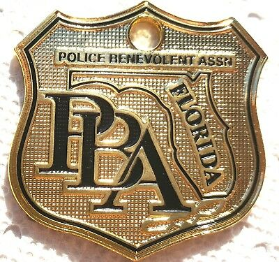 PBA FLORIDA LAW ENFORCEMENT SUPPORTER CAR GOLD POLICE LICENSE TAG PLATE SHIELD