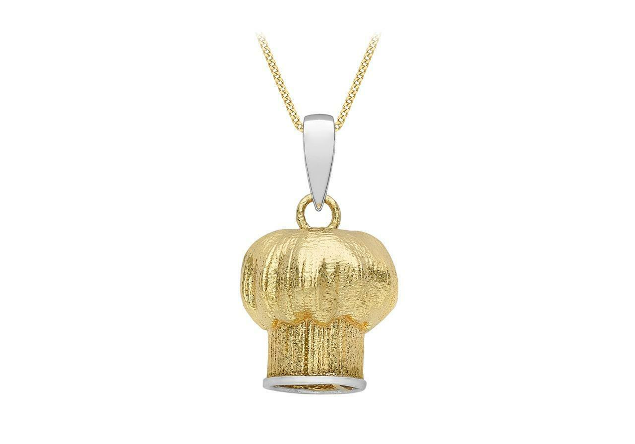 9ct gold Yellow & White Professional Chefs Hat Pendant Toque whitehe 10mm Gift