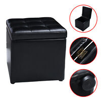 Cube Ottoman Pouffe Storage Box Lounge Seat Footstools with Hinge Top New