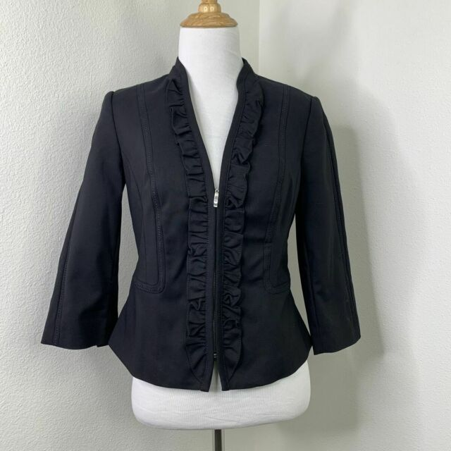 White House Black Market Blazer Size 2 Lined Partial Zip Ruffle Bellamy Jacket