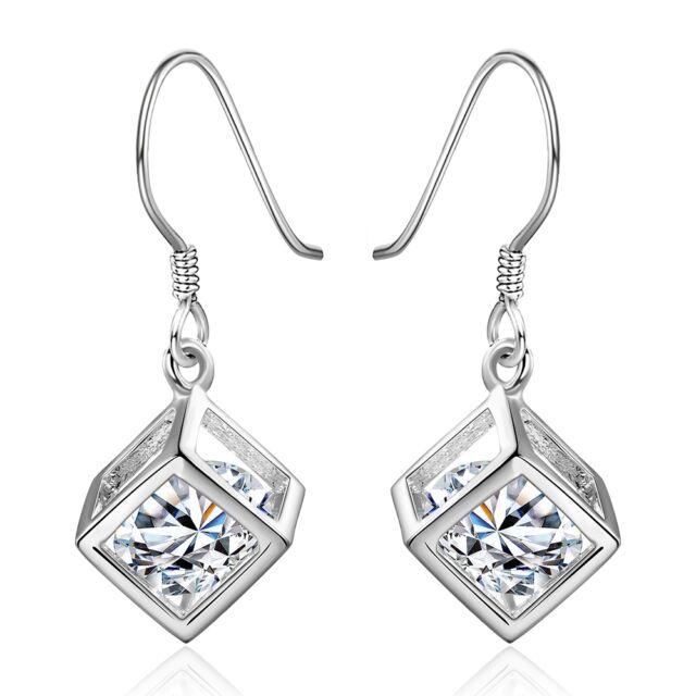 NEW Hollow Cube Crystal Silver fashion Dangle Drop Earrings jewelry