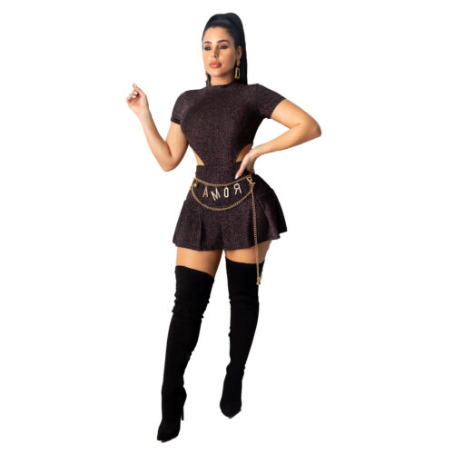 Mini Skirts Club Party Casual Cocktail Dress 2 Pc Women Short Sleeves Bodysuit