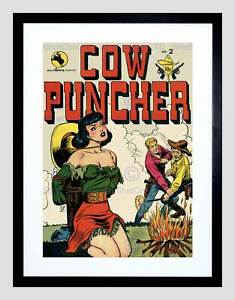ACG RETRO COMIC BOOK COVER Cow Puncher Damsel Black Framed