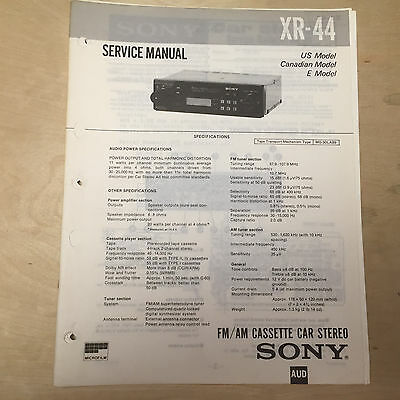 sony service manual for the xr 44 cassette player radio car stereo rh ebay com Sony Xplod CDX MP80 Manual Sony Stereo Systems
