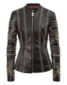 Silver Jacket coat Fashion Jacket Style Women Ladies Leather Studded Motorcycle Tn650a0q