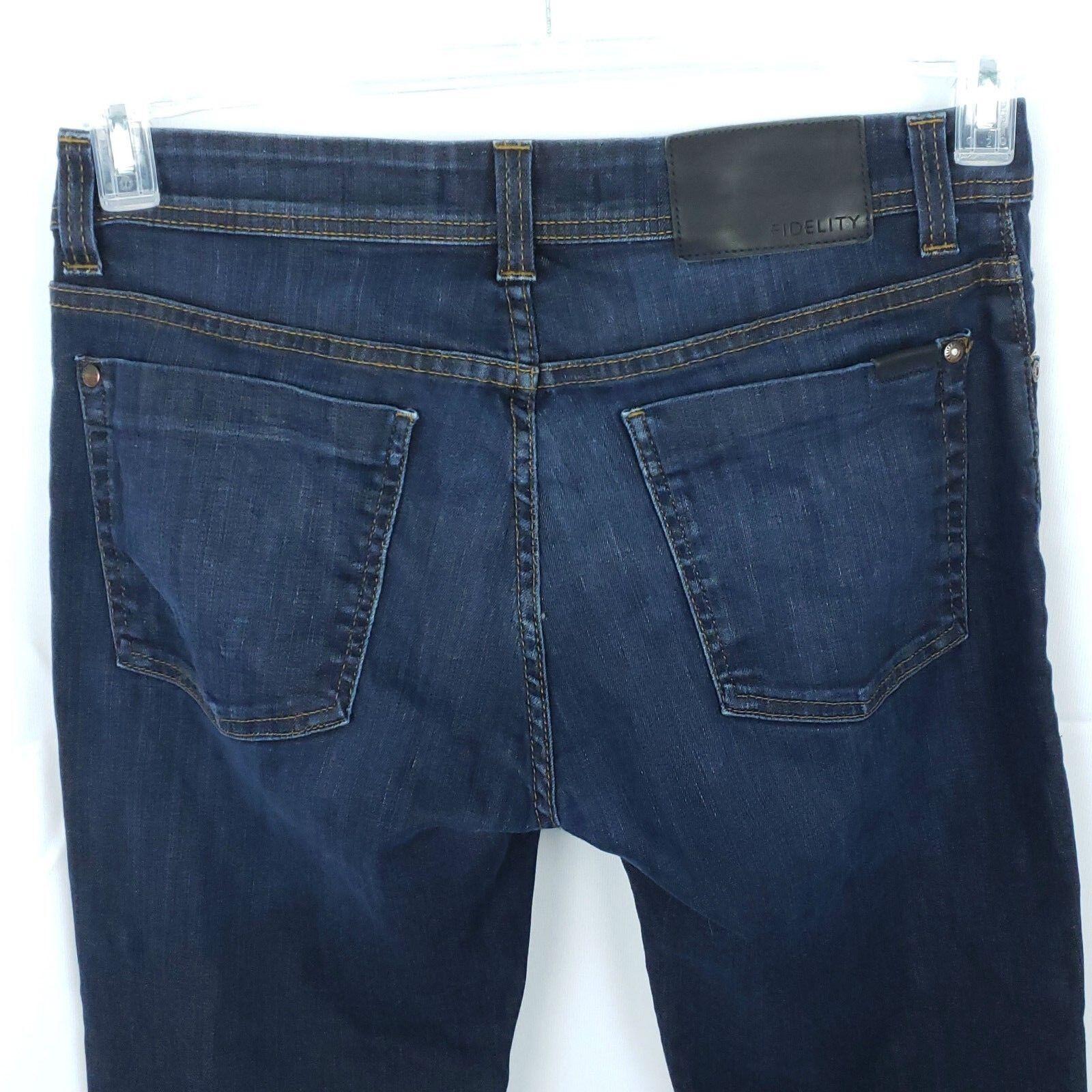 Fidelity Womens Jimmy Denim Jeans Size 32 Clampdown Dark Straight Leg USA Made