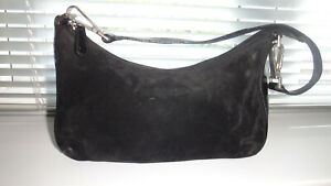 RUSSELL-AND-BROMLEY-SMALL-SHOULDER-BLACK-SUEDE-amp-LEATHER-BAG