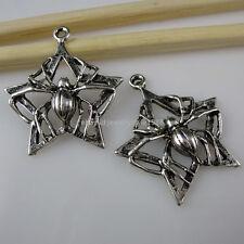 10890 15PCS Five-pointed Star Pentagram Spider Web Pendant Vintage Silver Tone