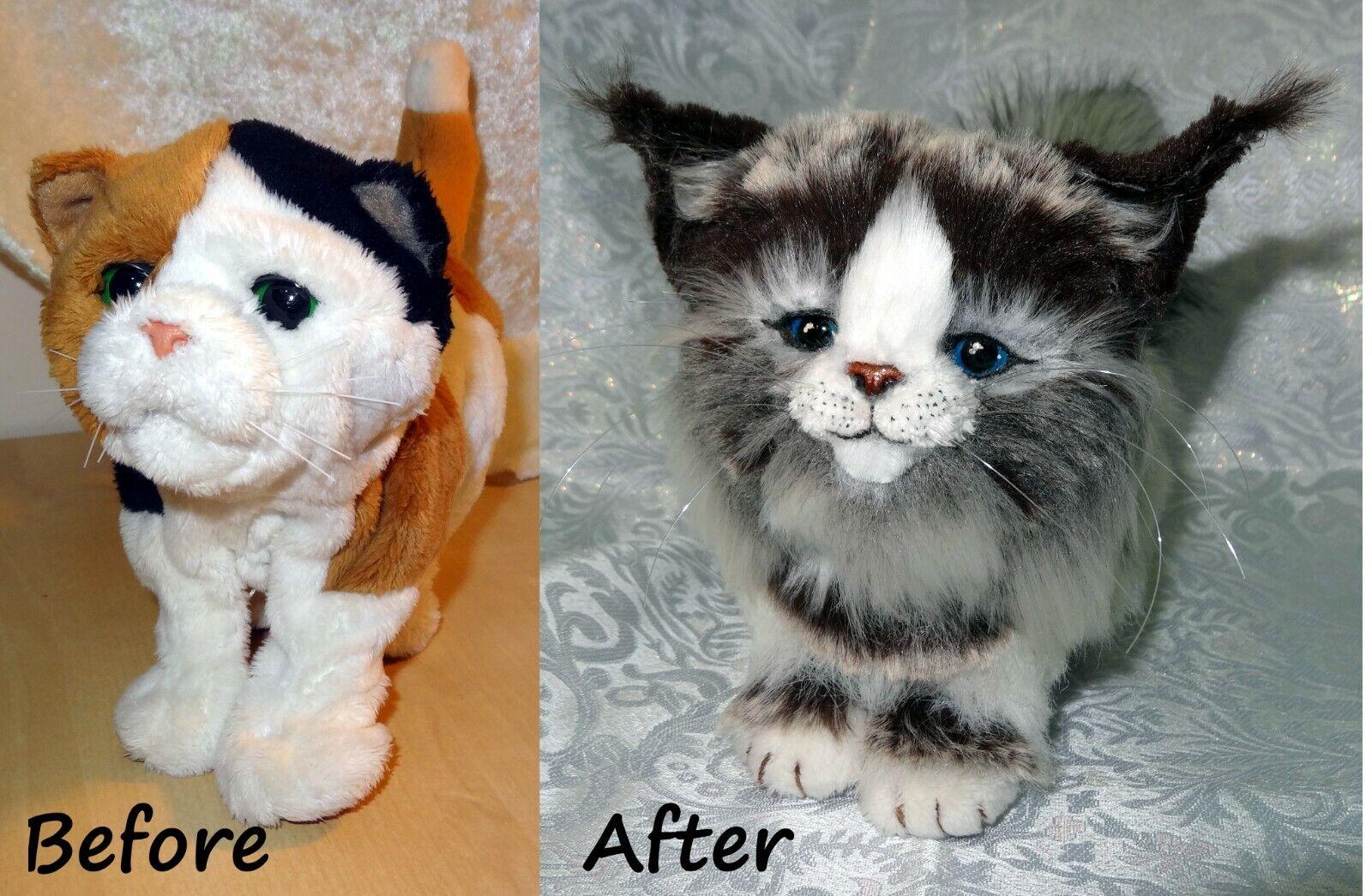 Furreal LYNX Ragdoll Calico Kitten Cat Hasbro robot art re-furred OOAK by Olia