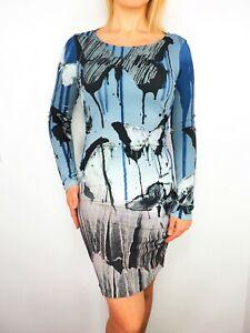 ROBERTO-CAVALLI-Long-Sleeve-Cowl-Back-Stretch-Sexy-Butterfly-Print-Dress-size-M