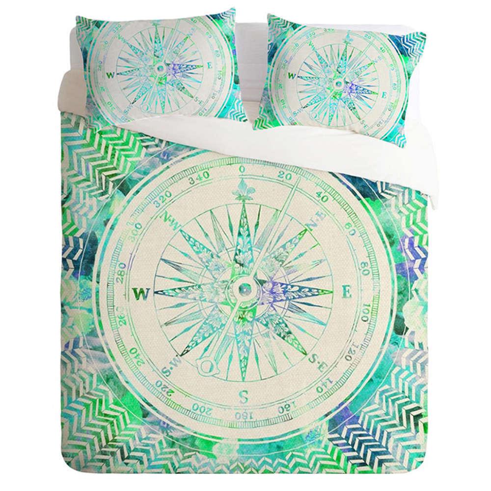 Pale Grün Compass Way 3D Digital Print Bedding Duvet Quilt Cover Pillowcase