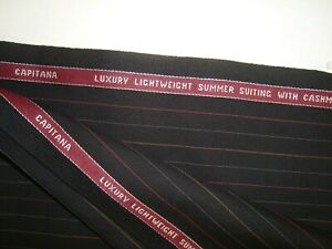 4-44-yd-HOLLAND-SHERRY-WOOL-Cashmere-FABRIC-Capitana-8-5-oz-SUIT-Black-160-034-BTP