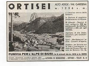 Pubblicità 1940 ORTISEI ALTO ADIGE VAL GARDENA advert werbung ...