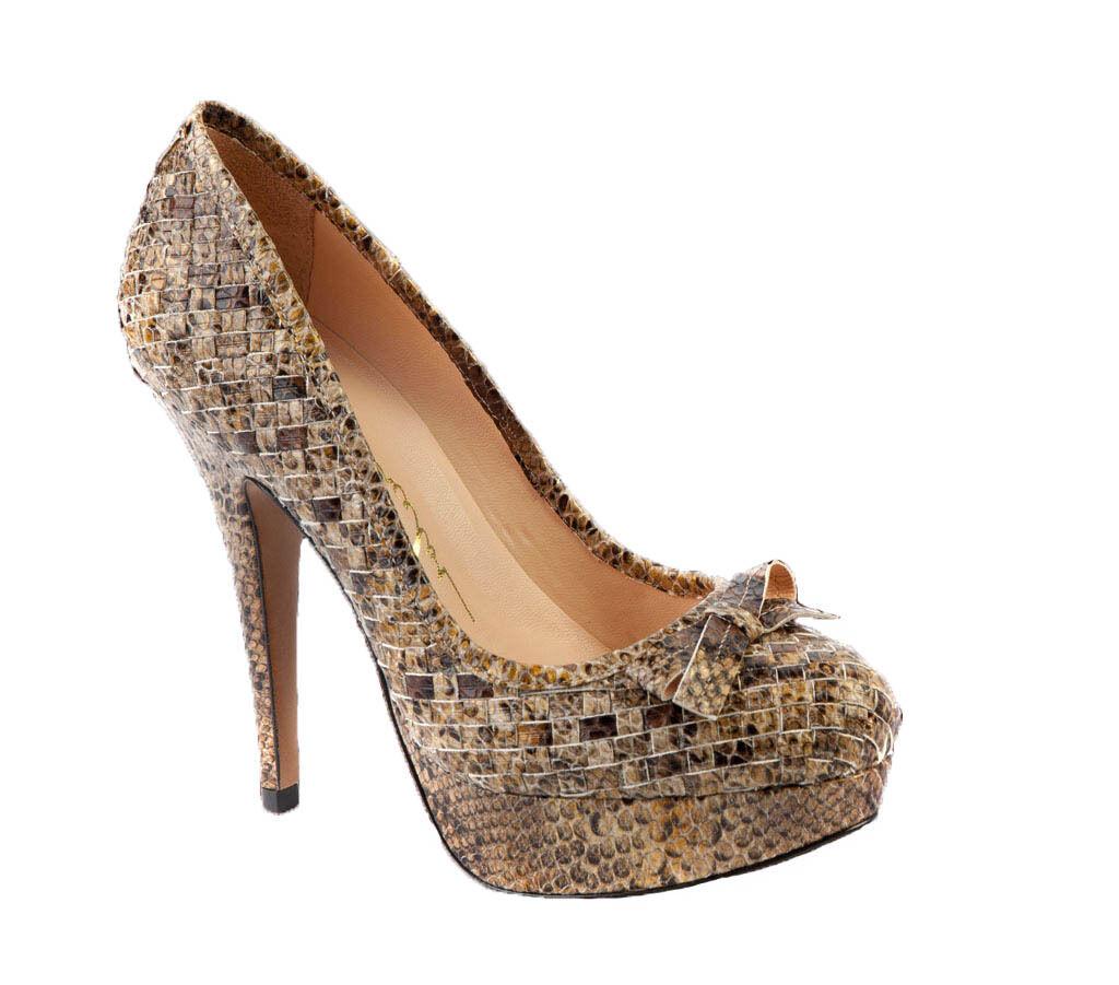 solo per te Luiza Barcelos Embossed Snake High Heels Platform Platform Platform Pumps Round Toe scarpe Leather  marchi di moda