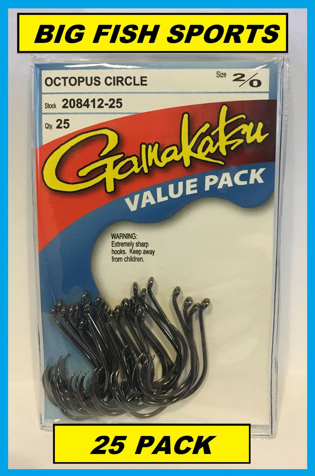 GAMAKATSU #208 OCTOPUS CIRCLE HOOK 25 HOOKS Value Pack NEW PICK YOUR SIZE!