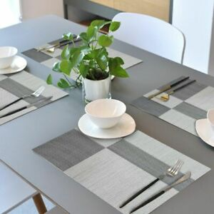 Set-of-4-PVC-Place-Mats-Kitchen-Dining-Table-Placemats-Non-Slip-Washable-Gray