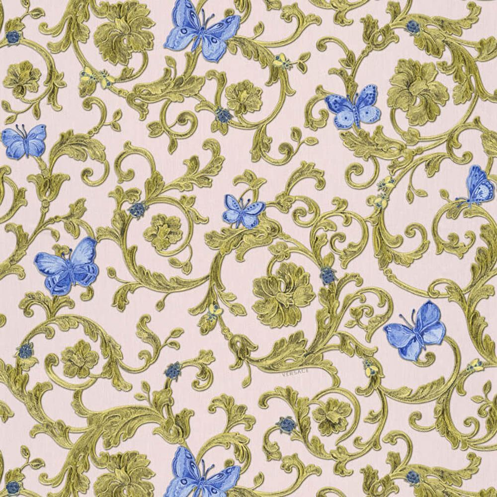 343256 - Versace Butterflies Bees Ladybirds pink bluee AS Creation Wallpaper