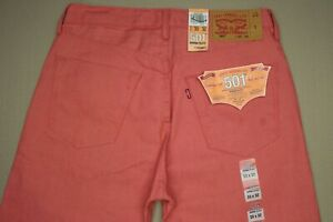 Levi-039-s-501-Straight-Leg-Jeans-Men-039-s-Size-33-X-32-Button-Fly-Coral-Raw-Denim-New