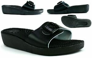Ladies-Slip-On-Front-Buckle-Sandals-Wedge-Heel-everyday-Massager-foot-bed-Mules