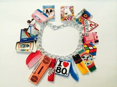 I Love The Eighties 80s Retro Throwback Handmade Bracelet Plastic Charms