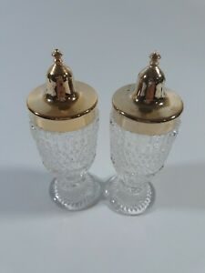 Salt Pepper Shakers Footed Diamond Cut Crystal Clear Screw Top Vintage Ebay