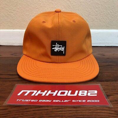 New Stussy Stock Rubber Patch Orange Strapback Cap Hat