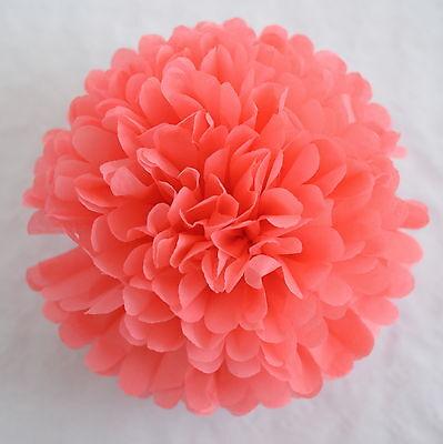 CORAL color tissue paper PomPom - party handmade pompoms