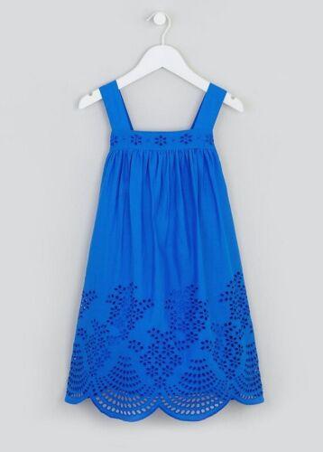 Vestido De Verano niñas Bnwt Matalan Azul Cobalto En Encaje el dobladillo Algodón D