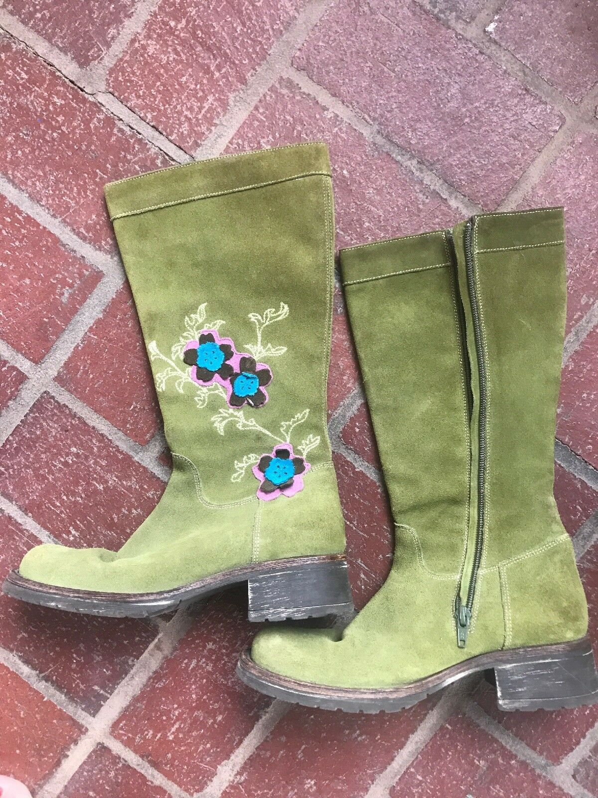 green suede Oilily Women Boots Embroidered Size 36