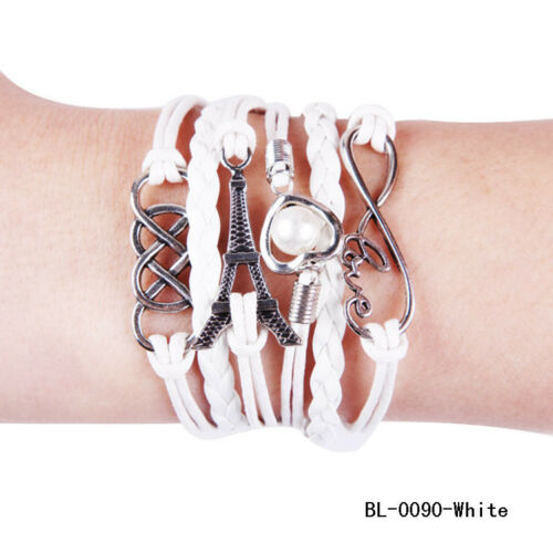 Fashion Armband Armschmuck 6-reihig Eifelturm Perle Love mehrreihig Neu