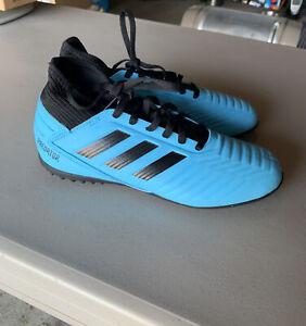 Youth Adidas Predator Tango 19.4 Turf Football Chaussures Noir & Bleu Taille 4.5 G25826