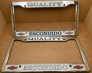 Rare Chevrolet Escondido Ca Quality Dealer License Plate Frame Vintage Plastic Ebay