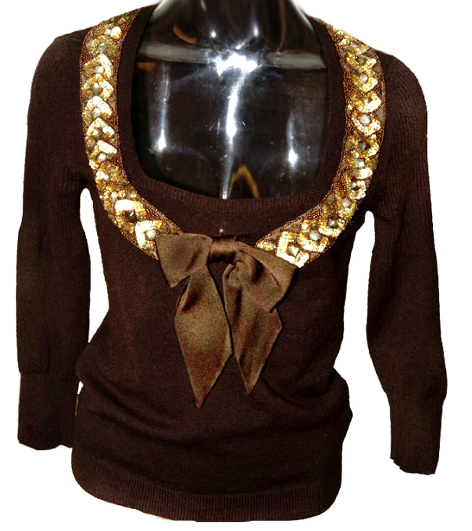 azulmarine hecho a mano bordado de perlas lentejuelas arco  decorado Suéter Tejido Marrón  tiendas minoristas
