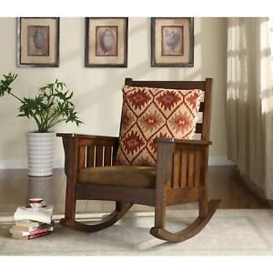 Marvelous Details About Rustic Mission Upholstered Rocking Chair Brown Wood W Cushioned Foam Seat Pillow Uwap Interior Chair Design Uwaporg
