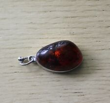 Vtg Sterling Silver Cognac Baltic Amber Pendant Marked G 925 Mineva Head