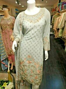 Pakistani-Indian-Salwar-Kameez-Wedding-Dress-Party-wear-Designer-Suit-Grey-Peach