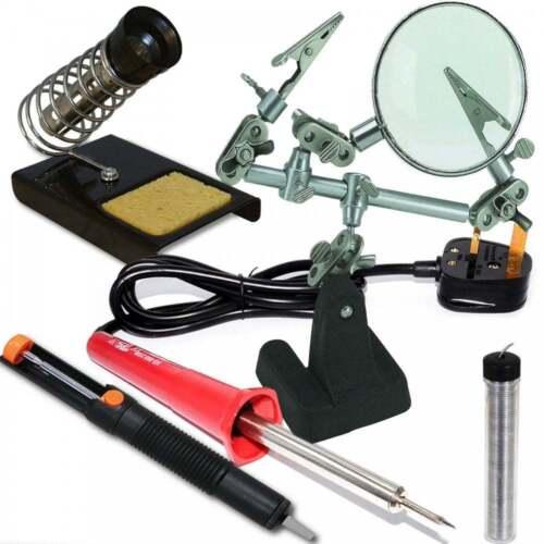 Soldering Iron Tool Kit Set Stand Sponge Desolder Pump Solder Wire Magnifier #GC