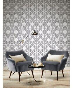 Image Is Loading Wallpaper Rasch Moroccan Geometric 3D Effect Grey Luxury