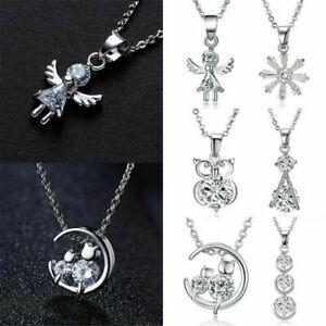 925-Silver-Crystal-Zircon-Pendant-Choker-Chain-Charm-Necklace-Women-Jewelry-Gift