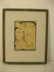 Alfred Morang 1950 Signed Painting Framed Ink Pastel Three Figures Dancing Paper