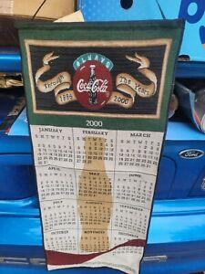 Vintage Official 2000 Coca Cola Coke Fabric Calender Millineum Classic Hanging