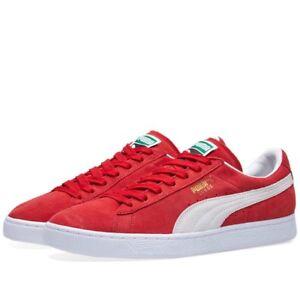 La imagen se está cargando Hombre-Mujer-Puma-Classic-Gamuza-Rojo-Blanco- Zapatos- b608c9fa2e387