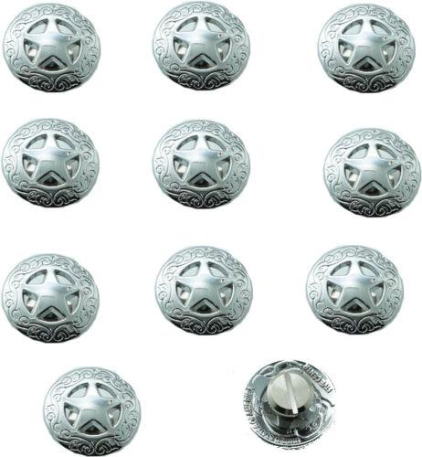 "3//4/"" Western Concho TEXAS STAR Selle À faire soi-même Leathercraft Bright Silver 21mm-10PC"
