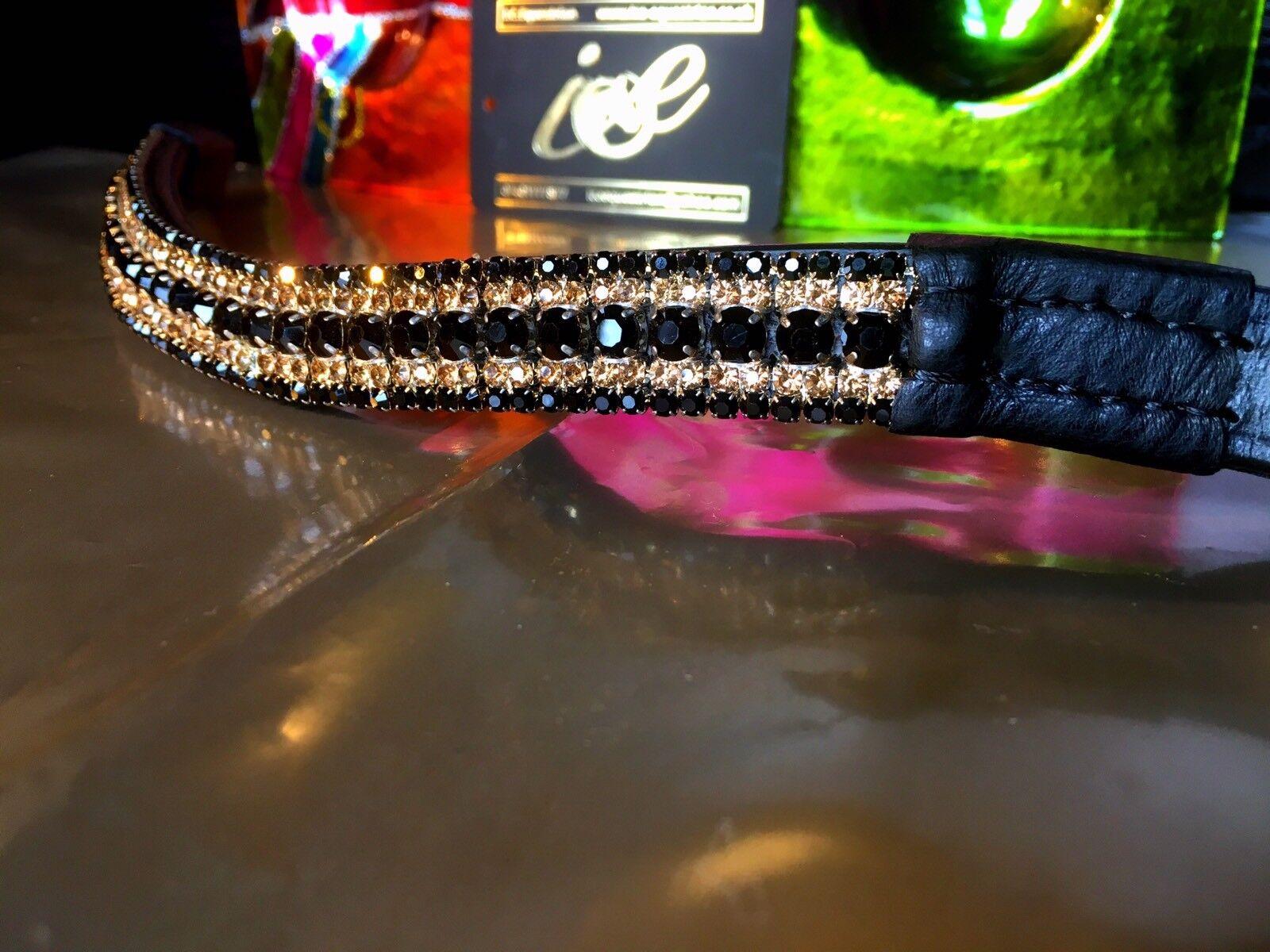 "New 13/"" 18/""  Luxury Soft Padded Bling Black//Gold//Burgundy Dressage Browband"
